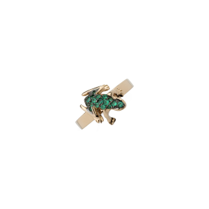 Ring in pink quartz, emeralds and rose gold