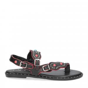 Il Laccio sandalo infradito PS5188 pelle nera-2
