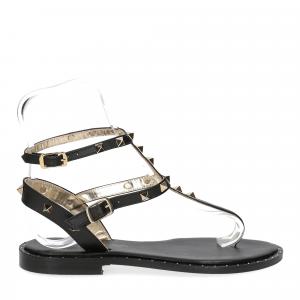 De Capri a Paris sandalo infradito borchie pelle nero-2