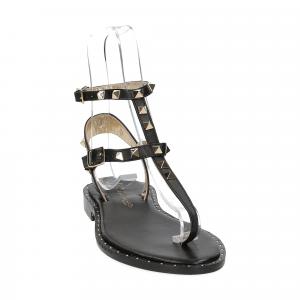 De Capri a Paris sandalo infradito borchie pelle nero-3