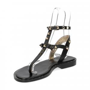 De Capri a Paris sandalo infradito borchie pelle nero-4