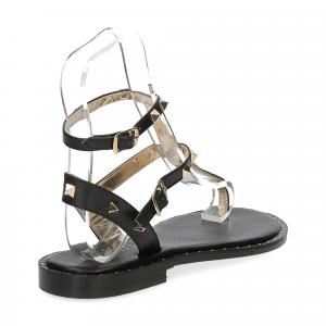 De Capri a Paris sandalo infradito borchie pelle nero-5