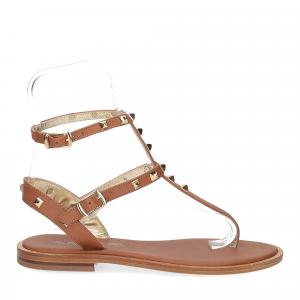 De Capri a Paris sandalo infradito borchie pelle cuoio-2