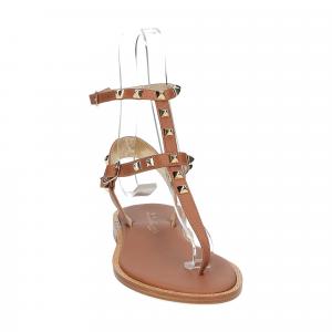 De Capri a Paris sandalo infradito borchie pelle cuoio-3