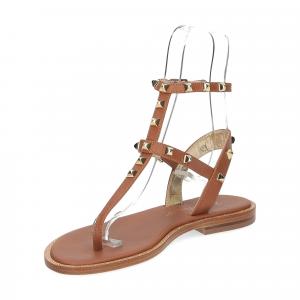 De Capri a Paris sandalo infradito borchie pelle cuoio-4
