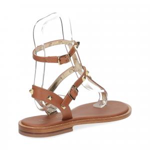 De Capri a Paris sandalo infradito borchie pelle cuoio-5