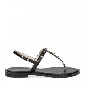 De Capri a Paris sandalo infradito borchie pelle nera-2