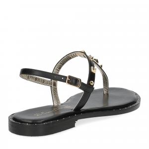 De Capri a Paris sandalo infradito borchie pelle nera-5