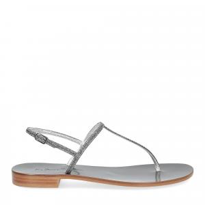 De Capri a Paris sandalo infradito PO14 lurex grigio-2