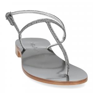 De Capri a Paris sandalo infradito PO14 lurex grigio-3