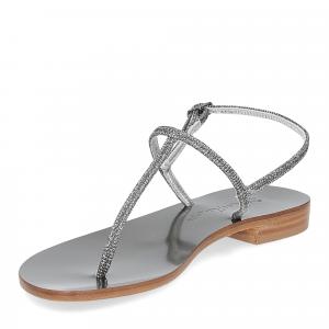 De Capri a Paris sandalo infradito PO14 lurex grigio-4