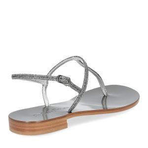 De Capri a Paris sandalo infradito PO14 lurex grigio-5