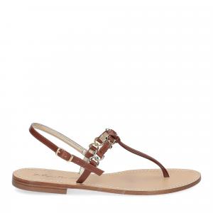 De Capri a Paris sandalo infradito nodino pelle cuoio-2
