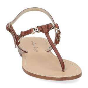 De Capri a Paris sandalo infradito nodino pelle cuoio-3