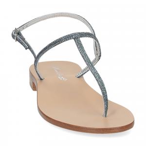De Capri a Paris sandalo infradito PO14 lurex blu-3