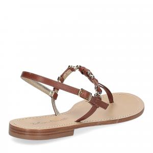 De Capri a Paris sandalo infradito nodino pelle cuoio-5