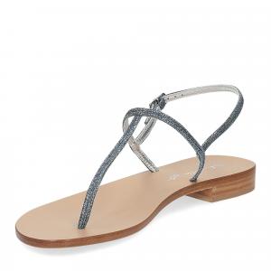 De Capri a Paris sandalo infradito PO14 lurex blu-4