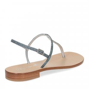 De Capri a Paris sandalo infradito PO14 lurex blu-5