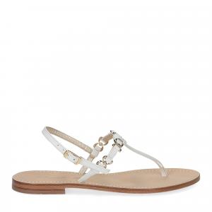 De Capri a Paris sandalo infradito nodino pelle bianco-2