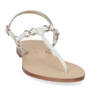 De Capri a Paris sandalo infradito nodino pelle bianco-3