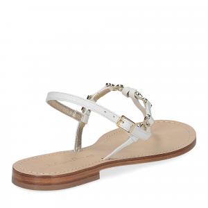 De Capri a Paris sandalo infradito nodino pelle bianco-5