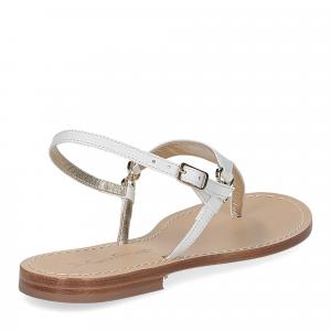 De Capri a Paris sandalo infradito triangolo pelle bianco-5