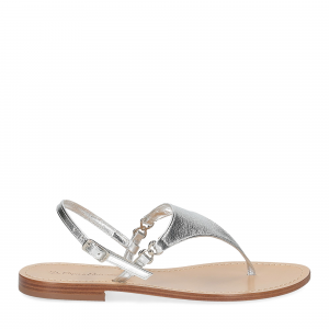 De Capri a Paris sandalo infradito triangolo pelle laminata argento-2