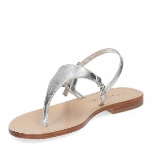 De Capri a Paris sandalo infradito triangolo pelle laminata argento-4
