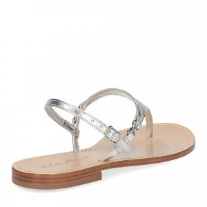 De Capri a Paris sandalo infradito triangolo pelle laminata argento-5