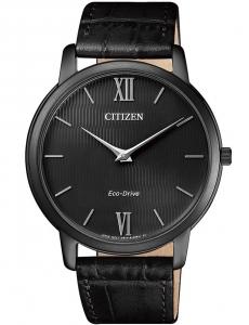 Citizen 0.45 Ultrapiatto Cassa acciaio I.P. nero, cinturino nero, quadrante nero