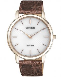 Citizen 0.45 Ultrapiatto Cassa acciaio I.P.oro, cinturino marrone, quadrante bianco