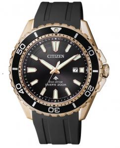 Citizen Diver's 200 Mt. Quadrante nero, cassa acciaio I.P. oro, cinturino poliuretano