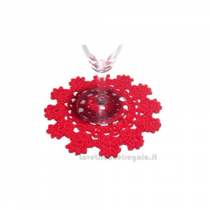 Sottobicchiere rosso ad uncinetto 13 cm Handmade - Italy