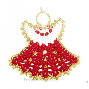 Angelo rosso, bianco e oro ad uncinetto 14 cm Handmade - Italy