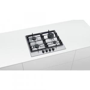 Bosch Serie 6 PCH6A5B90 piano cottura Nero, Acciaio inossidabile Da incasso Gas 4 Fornello(i)