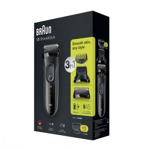 Braun Series 3 3000BT shave n style regolabarba Bagnato e secco Grigio
