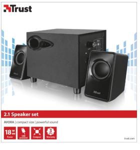 Trust Avora 2.1 set di altoparlanti 2.1 canali 9 W Nero