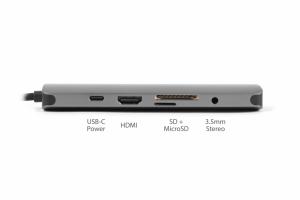 Sitecom CN-382 cavo di interfaccia e adattatore USB-C USB-C, RJ45, HDMI, 3.5mm, 3x USB 3.0, SD, microSD Grigio