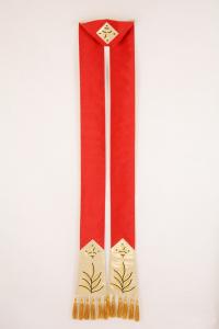 Stola SB152 M1 Rossa foglie ulivo - Pura seta