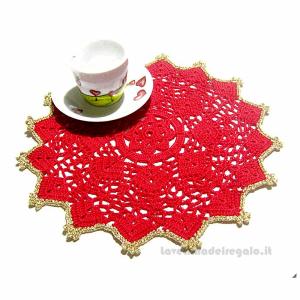 Centrino rosso e oro ad uncinetto 26,5 cm - Handmade - Italy