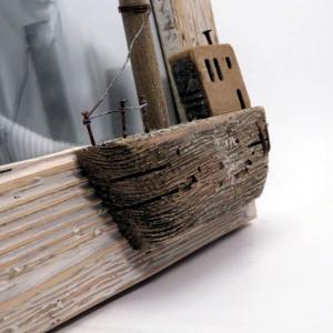 Cornice del mare con barca foto 13x18 di Mascagni