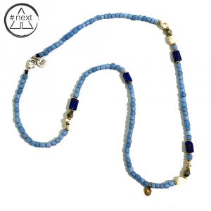 Dandy Street - Collana vetro anticato e pietre dure - Azzurro
