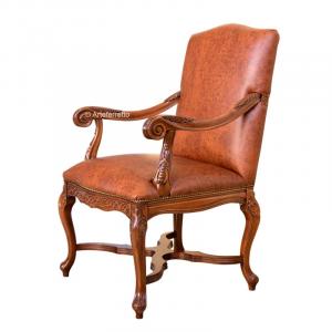 Sillón de madera Lord Byron tapizado en cuero