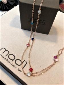 Collana cristalli colorati- argento 925% rosato