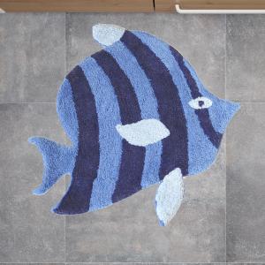 Tappeto da bagno PESCE blu 60x60 cm puro cotone linea mare DORY