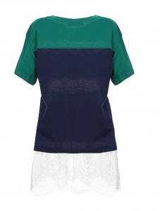 T shirt verde e blu con inserti pizzo - TWIN SET