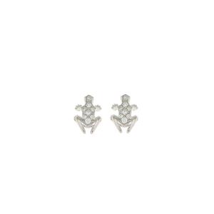 Anello Happy Frog in pietra, oro bianco e diamanti