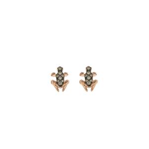 Anello Happy Frog in pietra, oro rosa e diamanti brown