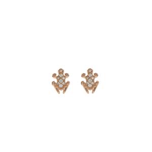 Anello Happy Frog in pietra, oro rosa e diamanti