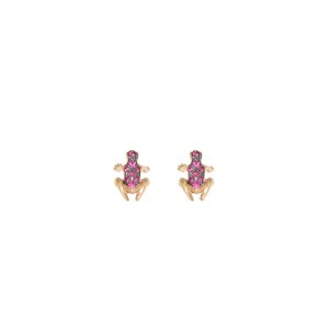Anello Happy Frog  in pietra, oro rosa e rubini